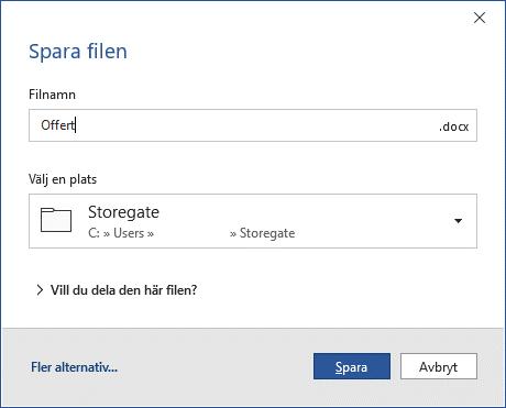 spara filer direkt från Office till din svenska molntjänst